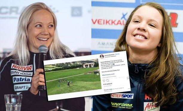 Kaisa Mäkäräinen ja Kerttu Niskanen ovat päässeet treenaamaan yhdessä.