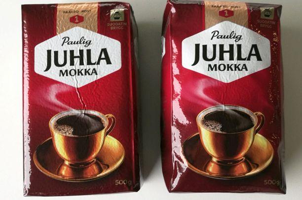 Kuvassa oikealla kahvipaketti, joka on syytä jättää ostamatta.