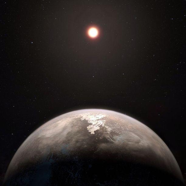 Taiteilijan näkemys eksoplaneetta Ross 128b:stä ja tämän kääpiötähdestä.