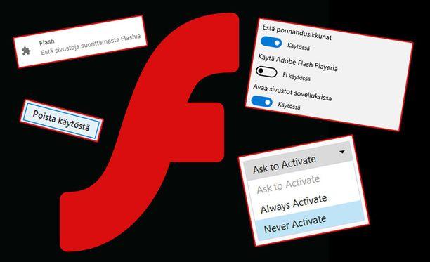 Flash Playerin voi poistaa selaimilla käytöstä.