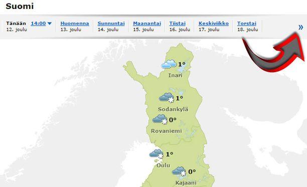 Katso, miltä jouluaaton sää näyttää paikkakunnallasi Iltalehden ja Forecan sääpalvelusta. Seuraavan viikon sään näet oikealla olevaa nuolta klikkaamalla.