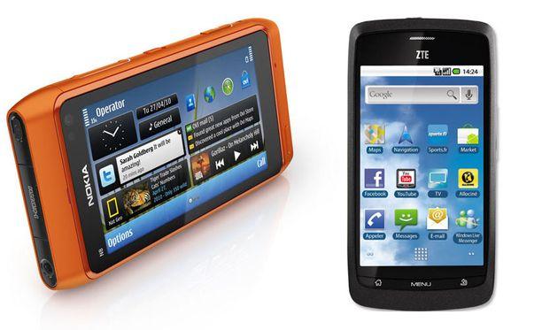 Nokia N8 (vas.) jäi kakkoseksi ZTE Bladelle.
