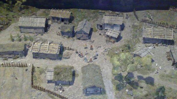 Pienoismalli keskiaikaisesta Mankbyn kylästä, joka löydettiin arkeologisissa kenttätutkimuksissa Espoon Mankista vuonna 2004.