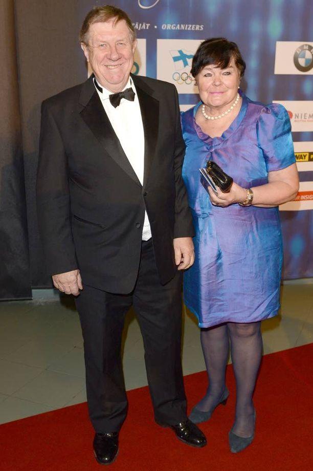 Ulpu Lehti oli miehensä Eeron kanssa mukana Suomen Urheilugaalassa vuonna 2014.