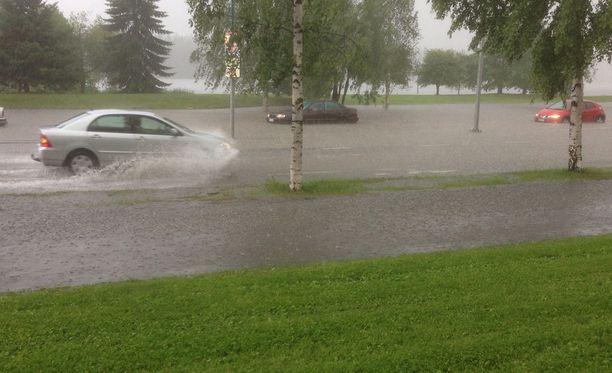 Kajaanissa tuli runsaasti vettä kesäkuun lopussa.