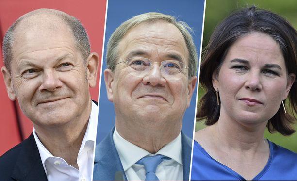 Saksan liittokansleriksi pyrkivät Olaf Scholz (SPD), Armin Laschet (CDU/CSU) ja Annalena Baerbock (vihreät).