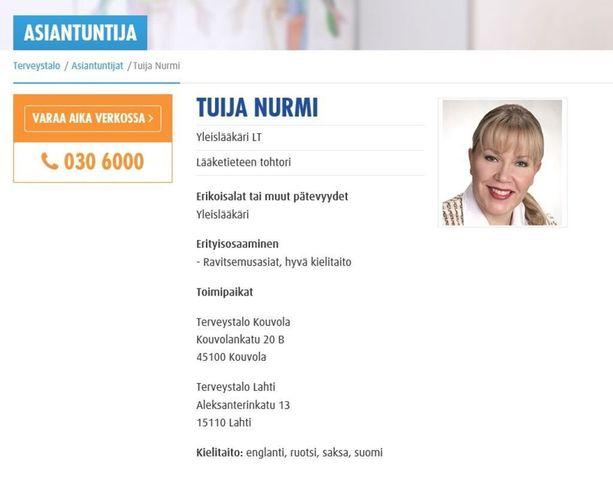 Nurmi ilmoittaa Terveystalon verkkosivuilla olevansa lääketieteen tohtori (LT).