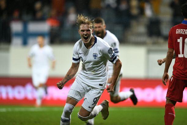 Fredrik Jensen iski Suomen avausmaalin Armeniaa vastaan 3–0-voitossa.