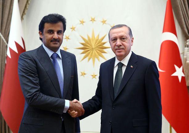 Qatarin emiiri, sheikki Tamim bin Hamad al-Thani, kätteli Turkin presidentti Recep Tayyip Erdoğania maaliskuussa 2015.