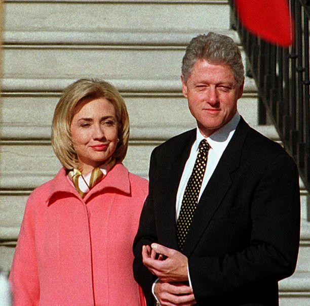 Bill Clinton ja vaimo Hillary Clinton vuonna 1997.
