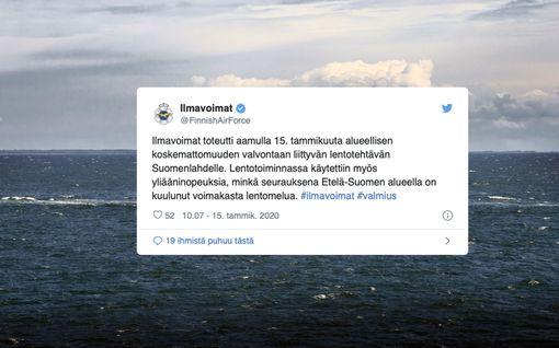 Ilmavoimat selittää suurta pamausta Etelä-Suomessa: Lentotehtävä Suomenlahdella