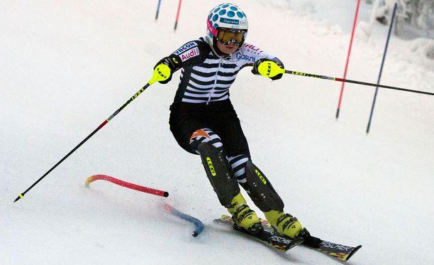 Tanja Poutiainen harjoittelee tässä Levillä otetussa vuonna 2013 otetussa kuvassa.