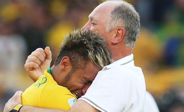 Neymar ja Luiz Felipe Scolari.