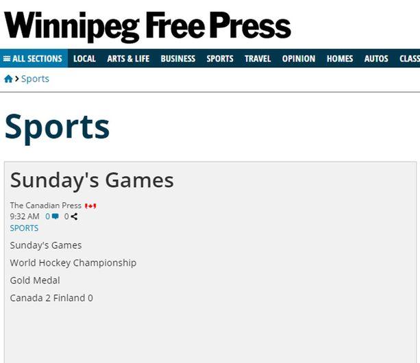Pieni on kaunista MM-kultauutisoinnissakin. Winnipeg Free Press pitäytyi perusfaktoissa.