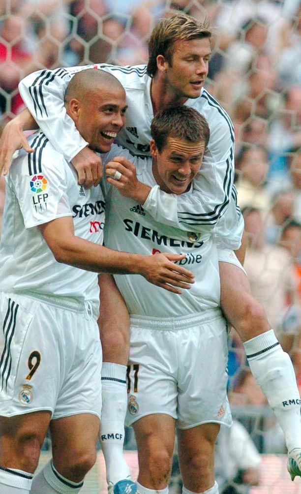 Ronaldo, Michael Owen ja David Beckham pelasivat yhdessä Real Madridissa kaudella 2004-2005.