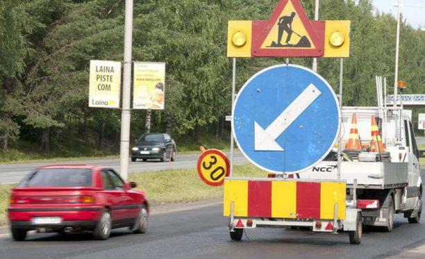 Tietyömaiden nopeusrajoituksia valvotaan Virossa erittäin tarkasti.
