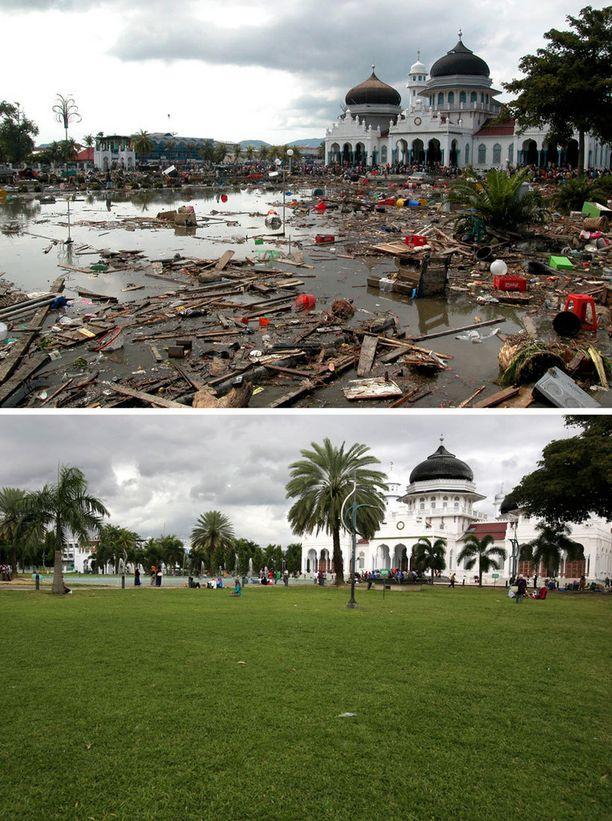 Baitulrahman moskeija jäi pystyyn Banda Acehissa Indonesiassa.