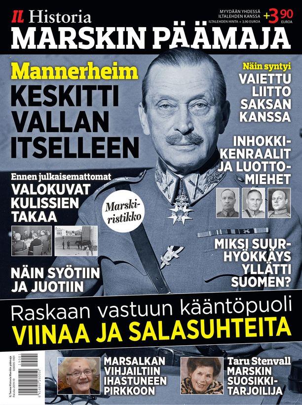 MARSKIN PÄÄMAJA: Mannerheimin johdolla ratkaistiin sota-ajan kohtalonkysymykset, mutta Päämajan arjessa näkyi myös kenraalien inhimillinen puoli. Lehdessä esitellään myyttisen Päämajan avainhenkilöt ja suurten päätösten taustat sekä kerrotaan elämästä kulisseissa. Mukana on myös ennen julkaisemattomia kuvia ja Mannerheim-ristikko. Myydään yhdessä Iltalehden kanssa, Iltalehden hinta + 3,90 euroa.