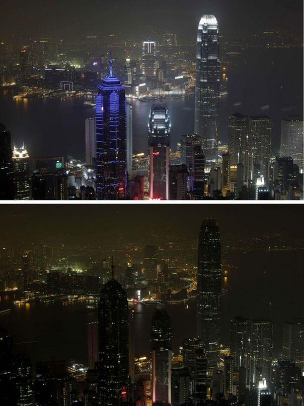 Valot sammuivat Hong Kongissa Kiinassa.