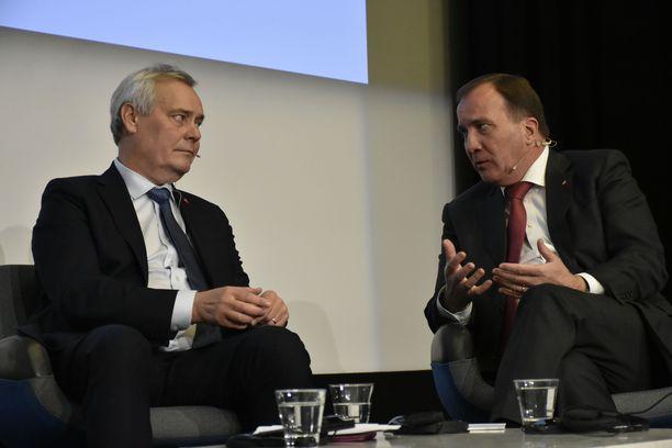 Suomen ja Ruotsin sosialidemokraattiset pääministerit Antti Rinne ja Stefan Löfven tapasivat lauantaina Helsingissä.