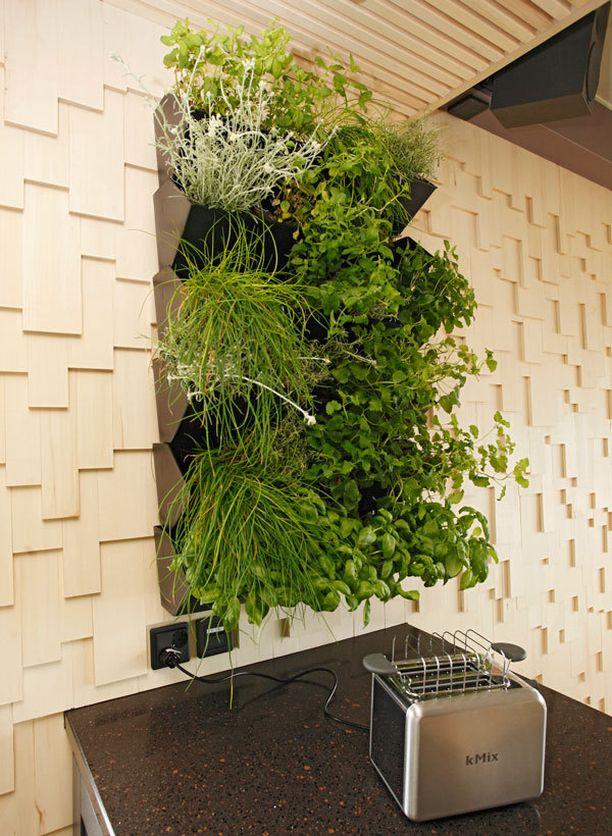 Vihreyttä voi tuoda sisään vaikkapa seinälle ripustettavan yrttipuutarhan avulla.