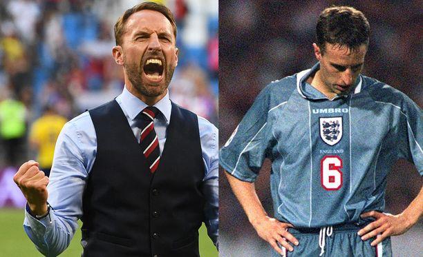 Gareth Southgaten kahdet kasvot. Vasemmalla vuonna 2018 ja oikealla vuonna 1996.
