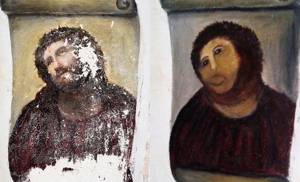 """Alkuperäinen fresko oli päässyt rapistumaan ja vapaaehtoinen seurakuntalainen """"restauroi"""" sen."""