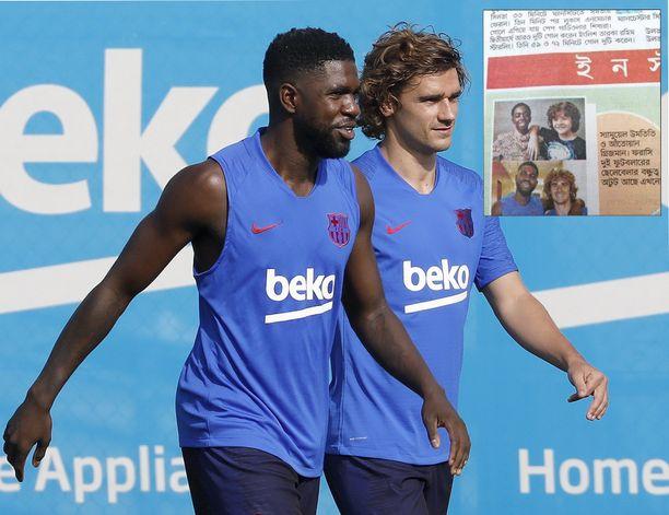 Samuel Umtiti (vasemmalla) ja Antoine Griezmann edustavat FC Barcelonaa.