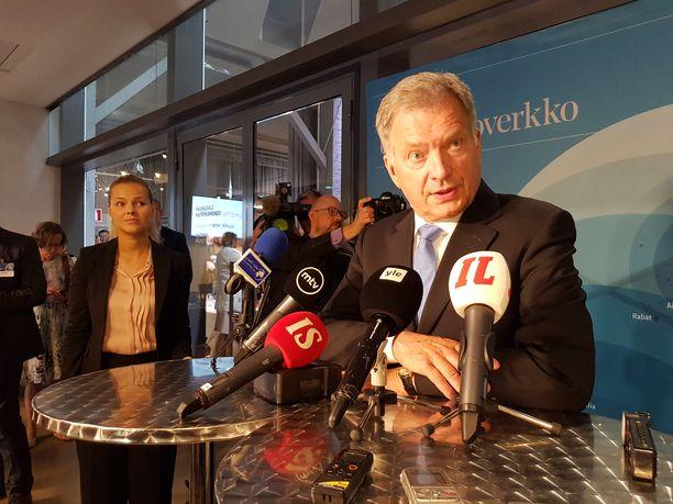 Presidentti Sauli Niinistö pitämässä tiedotustilaisuutta suurlähettiläspäivillä Helsingissä viime elokuussa.