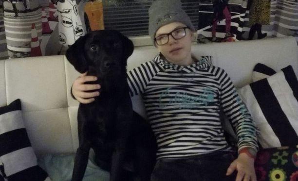 Jasper Mäki-Jokela on sairastanut narkolepsiaa jo 7 vuotta. Kuvassa myös perheen 11-kuukautinen avustajakoira Salli.