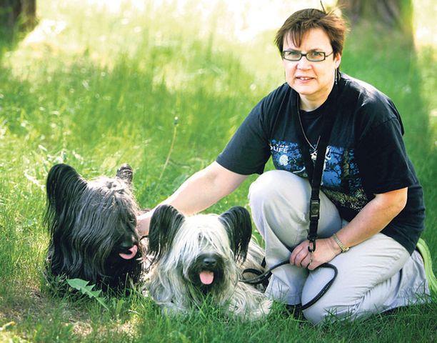 TÄRKEITÄ APULAISIA Barrie ja Candyn kanssa lenkillä olevan Kirsi Sainion mukaan ekologisten seikkojen ohella on tärkeää muistaa myös koirien tärkeä rooli yhteiskunnassa yksinäisten auttajana ja esimerkiksi näkövammaisten apulaisena.