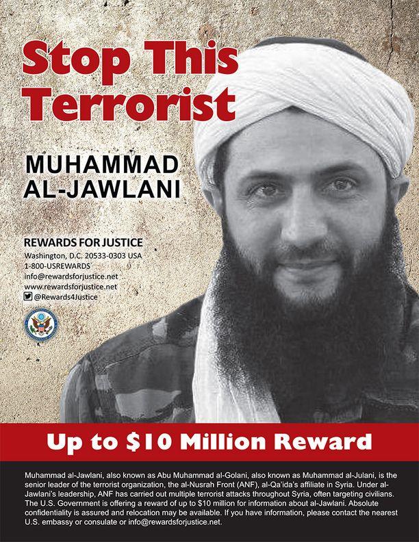 Abu Mohammed al-Julanista on luvattu 10 miljoonan dollarin palkkio.