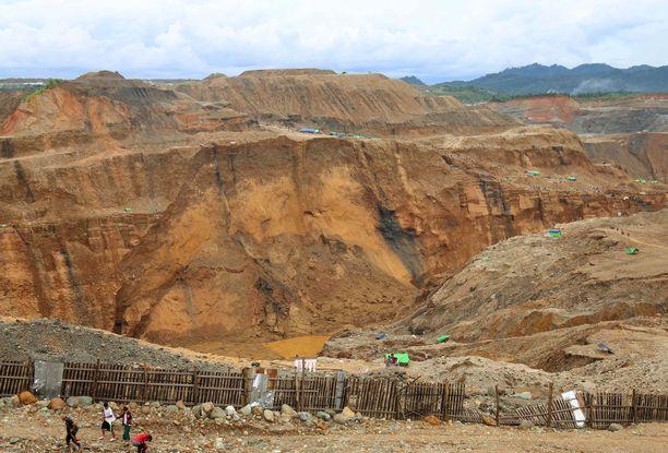 Vuonna 2018 otettu kuva Hpakantin kaivosalueelta. Kuvituskuva.
