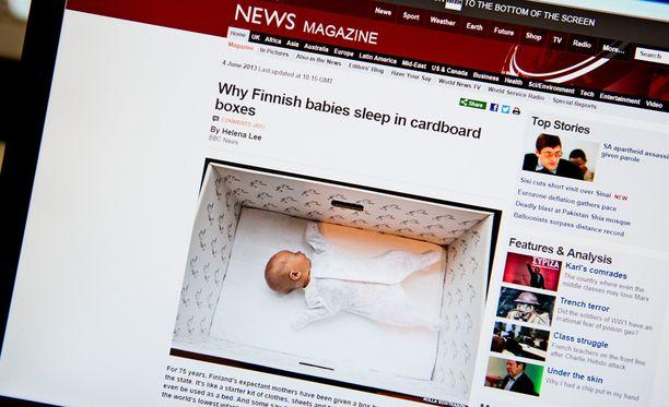 Muun muassa BBC uutisoi jo yli vuosi sitten suomalaisesta äitiyspakkauksesta.
