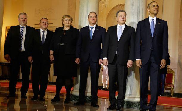 Islannin, Tanskan, Norjan, Ruotsin pääministerit sekä tasavallan presidentti Sauli Niinistö tapasivat Yhdysvaltain presidentin Barack Obaman Valkoisessa talossa.