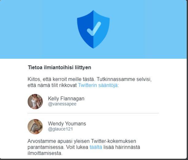 Twitterin mukaan tissibottitilit rikkovat palvelun sääntöjä.
