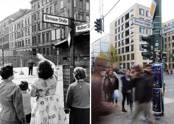 Länsiberliiniläiset vilkuttivat sukulaisilleen Itä-Berliinissä Bernauer Strassella elokuussa 1962.