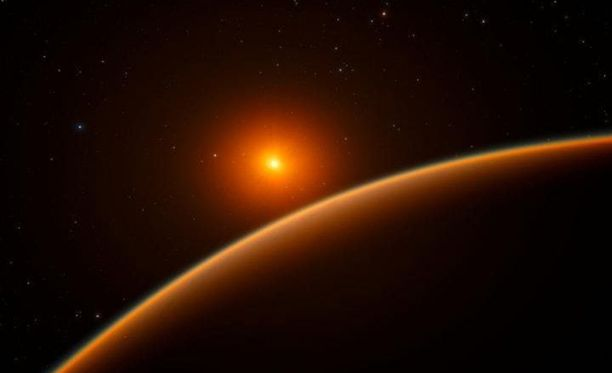 Taiteilijan näkemys uudesta löydetystä LHS 1140b-planeetasta, joka kiertää punaista kääpiötä.