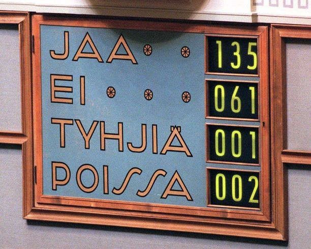 Eduskunta päätti euroalueeseen liittymisestä selvin numeroin vuonna 1998.
