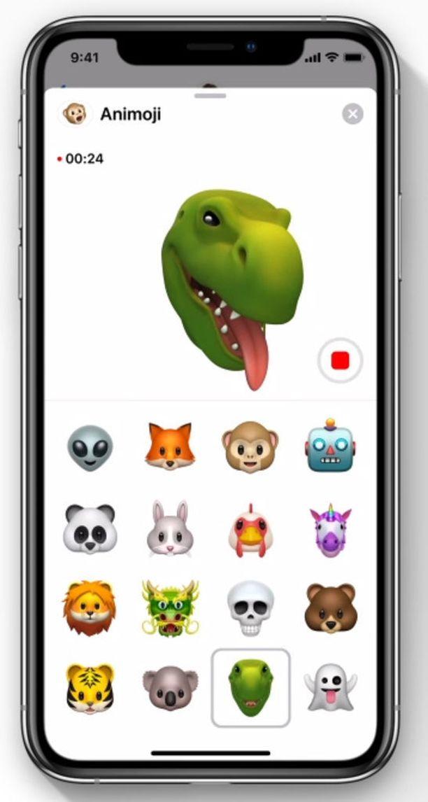 Neljä alarivin emojia ovat uusia.