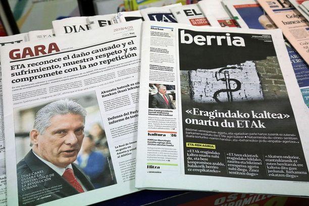 Baskilehdet Gara ja Berria julkaisivat ETA:n tiedotteen, jossa järjestö pyysi anteeksi yli neljä vuosikymmentä kestänyttä terrorikampanjaansa.