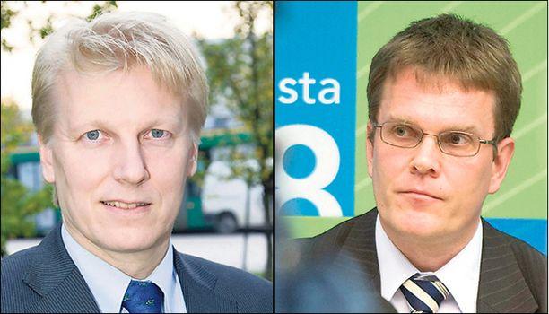 TAISTELUPARI. Kimmo Tiilikainen haastoi Jarmo Korhosen kamppailuun puoluesihteerin pallista.