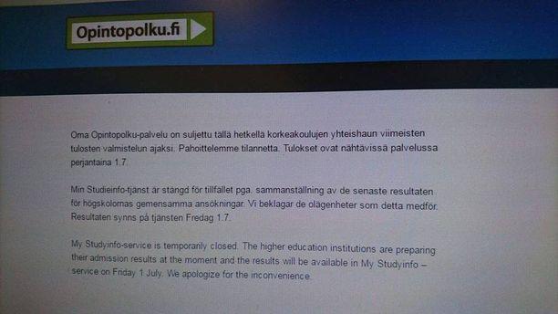 Opintopolun kerrotaan olevan suljettu tulosten viimeistelemisen vuoksi.