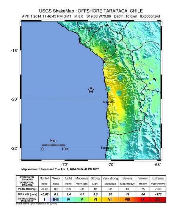 United States Geological Survey julkaisi järistyksen sijainnista havainnekuvan. Rannikolle on annettu tsunamivaroitus.