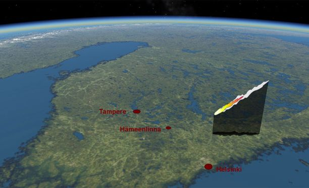 Uran laskelmien mukaan meteoriittiainesta putosi Mäntsälän pohjoispuolelle.
