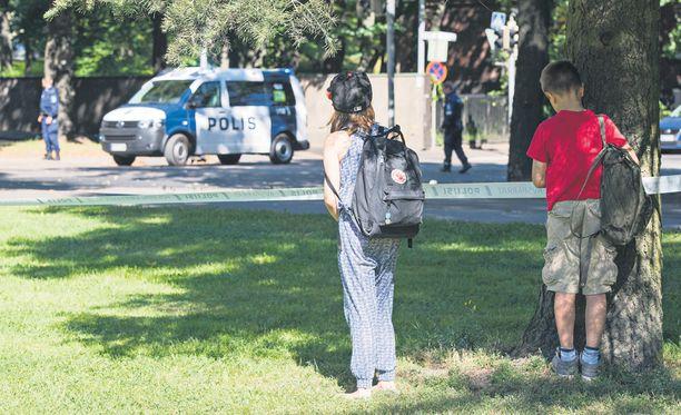 Kuva Helsingistä paikalta, jossa 9-vuotias tyttö kuoli 21. elokuuta.