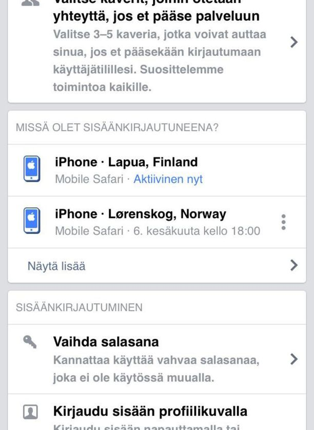 Lukijan Facebookiin oli kirjauduttu monista eri maista.