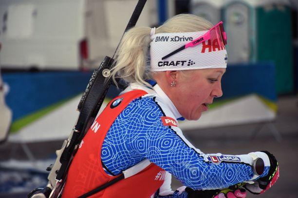 Kaisa Mäkäräinen voitti sunnuntaina Sloveniassa.