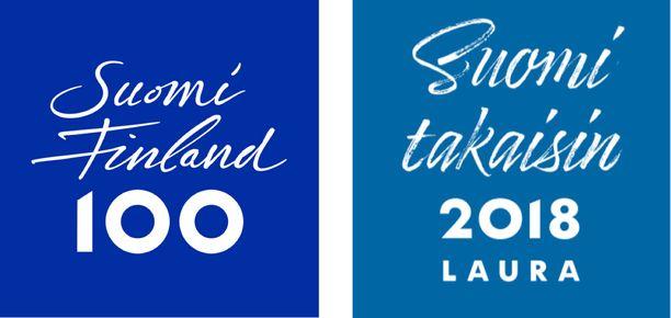 Suomi 100 -hankkeen logo ja Laura Huhtasaaren kampanjalogo ovat melkein kuin identtiset kaksoset. Huhtasaaren kampanjan graafinen ilme on asiantuntijan mukaan ideavarkaus.