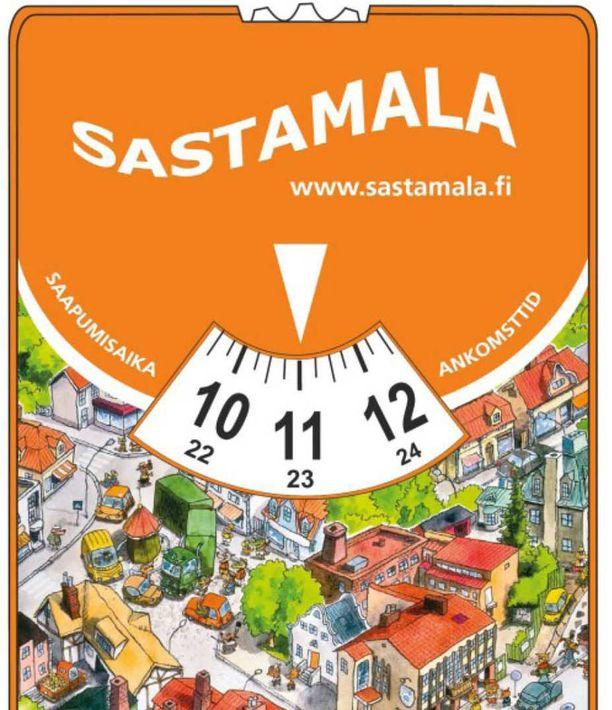 Tällaisen parkkikiekon autoilija voi saada Sastamalassa. Pysäköintikiekon kuvitus on tuttu Mauri Kunnaksen kirjasta, Herra Hakkaraisesta.